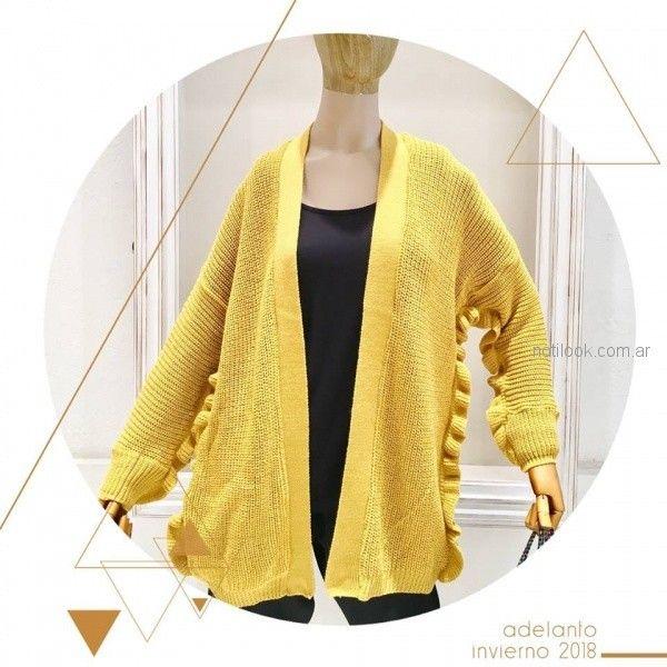 hg diseño - saco amarillo tejido invierno 2018