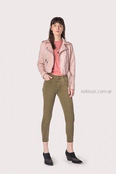 jeans color chupin elastizado con chaqueta corta ag Store invierno 2018