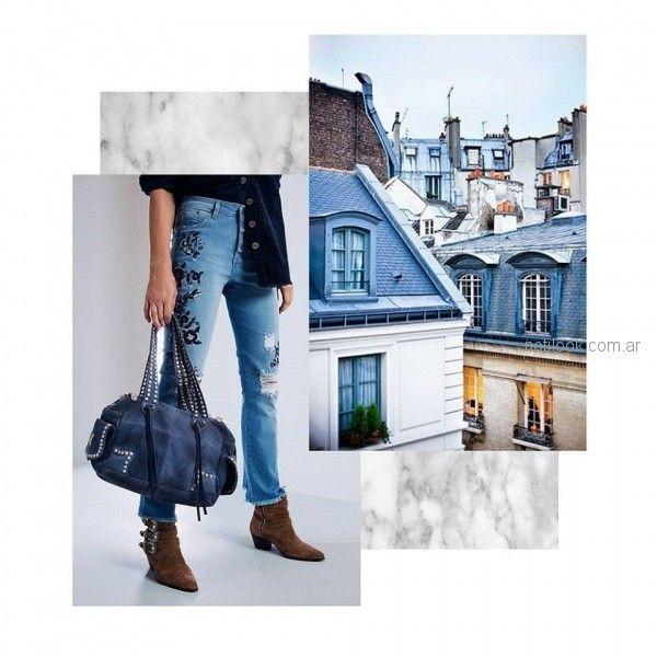jeans con roturas y bordado otoño invierno 2018 Vesna