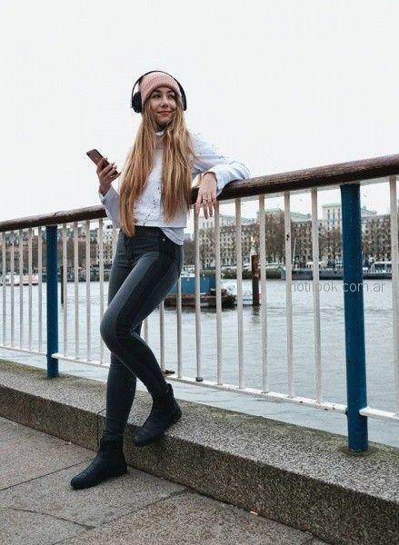jeans elastizado tiro alto campera denim corta Diosa Luna Jeans otoño invierno 2018