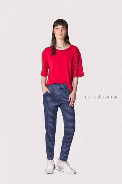 look con pantalon chupin a rayas mujer ag Store invierno 2018
