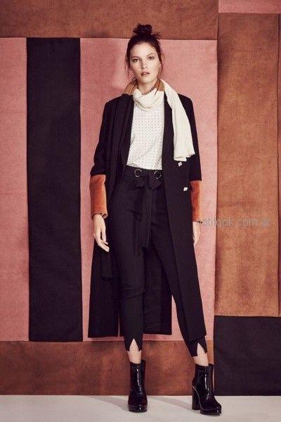 pantalon capri sastrero con tapado combinado con recortes en gamuza Clara Ibarguren otoño invierno 2018