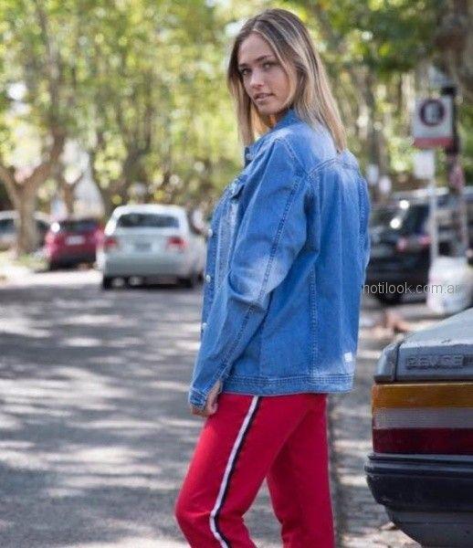 pantalones mujer con franjas laterales Doll fins otoño invierno 2018