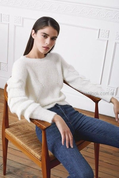 rie otoño invierno 2018 sweater de lana y jeans