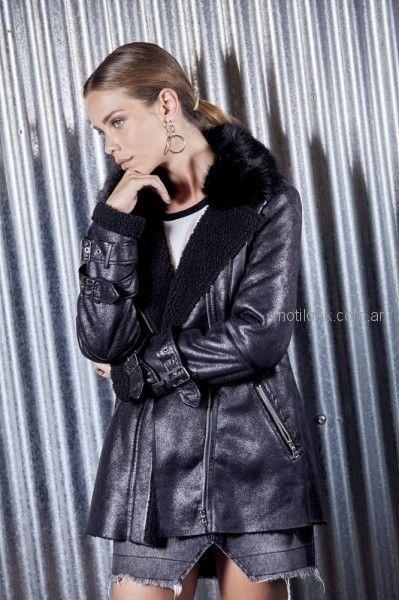 saco de cuero forrado en piel de cordero negro mujer ossira invierno 2018