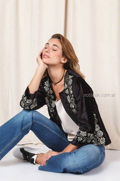 saco gamuzado negro bordado Tucci otoño invierno 2018