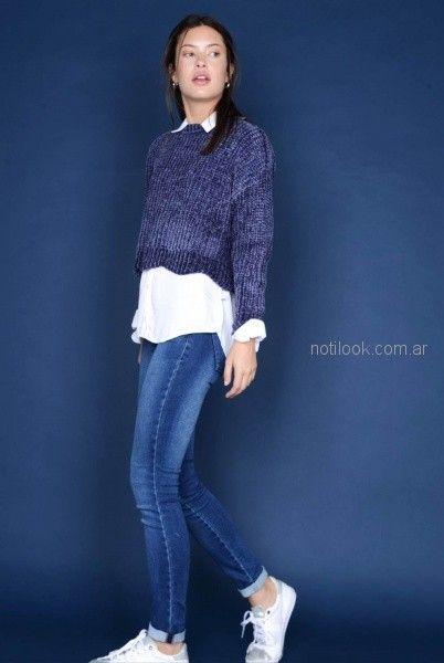 sweater corto y jeans para mujer invierno 2018 - Viga jeans