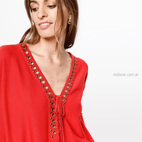 sweater de hilo con ojalillos y cordon India style otoño invierno 2018