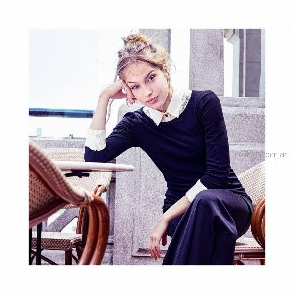 sweater hilo camisa con puntilla y palazzo de seda otoño invierno 2018 Vesna