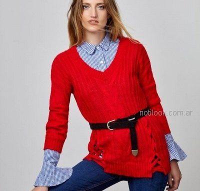 sweater lana rojo mujer Buryak invierno 2018