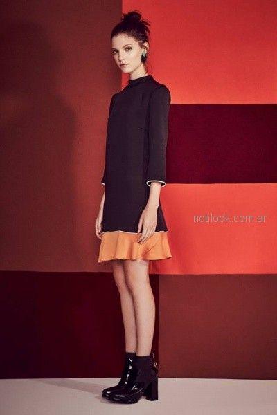 vestido corto con mangas estilo sastrero Clara Ibarguren otoño invierno 2018