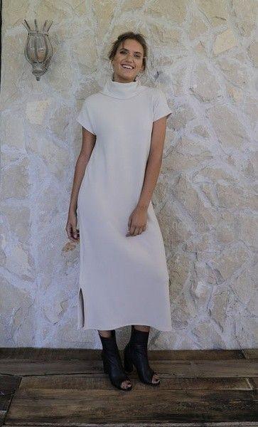 vestido largo para el dia cuello polera Pura pampa invierno 2018