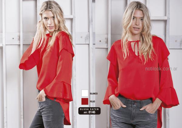 blusa roja mangas largas de seda con volados Utzzia otoño invierno 2018