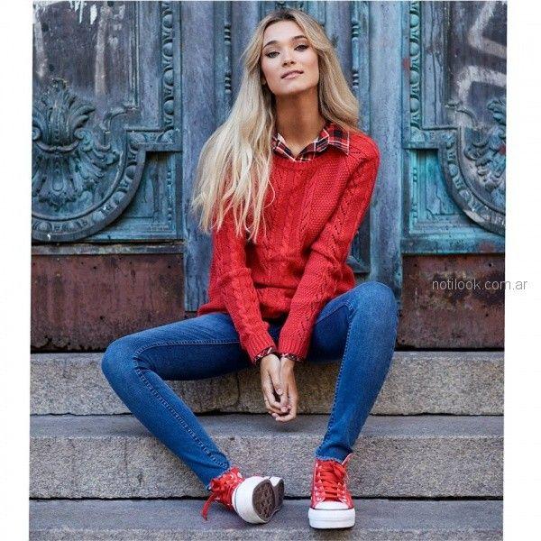 camisa a cuadros con sweater lana tejido mujer Scombro jeans invierno 2018