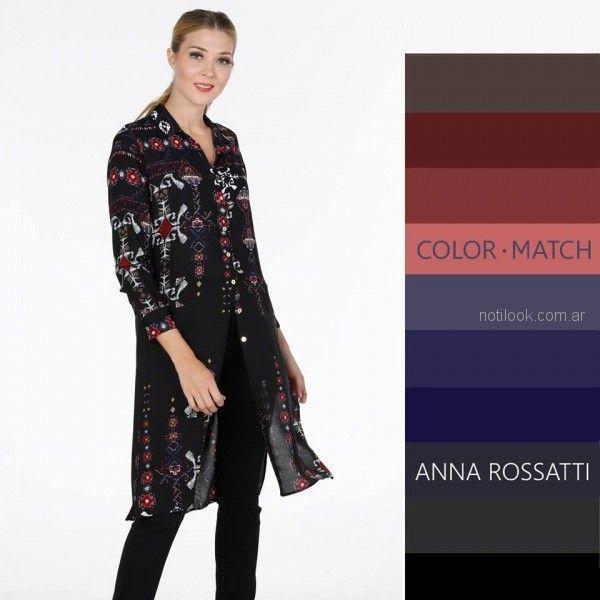 camisa de gasa estampada larga Anna Rossatti invierno 2018