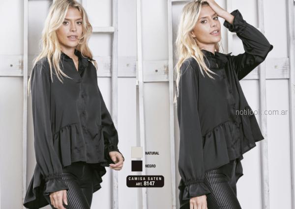 camisa de seda mangas largas negra asimetrica Utzzia otoño invierno 2018