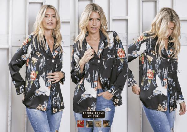 camisa de seda negra estampada Utzzia otoño invierno 2018