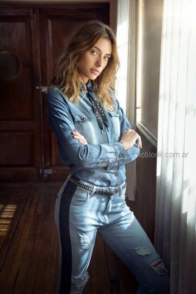 camisa denim mujer jeans con roturas recto Riffle jeans invierno 2018