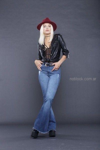 camisa engomada y jeans oxford look rockero mujer tabatha jeans invierno 2018