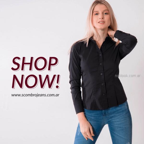 camisa lisa entallada mujer Scombro jeans invierno 2018