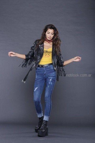 campera tachas y flecos look rockero mujer tabatha jeans invierno 2018