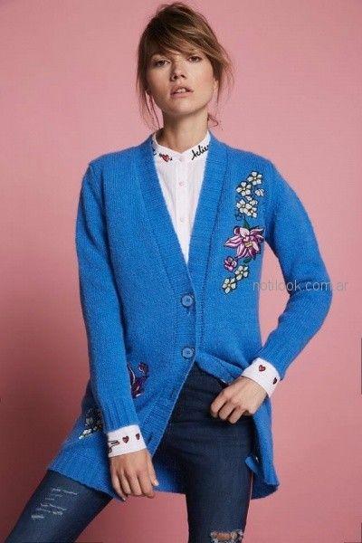 cardigan de lana bordado Agustina Saquer otoño invierno 2018
