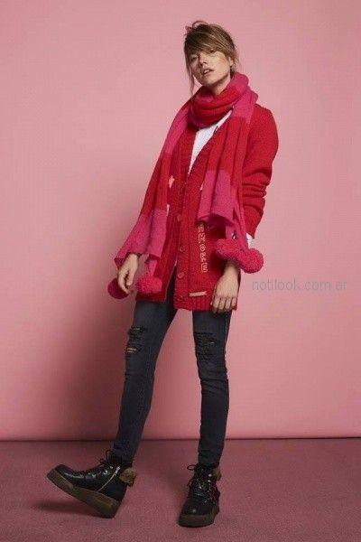 cardigan de lana rojo Agustina Saquer otoño invierno 2018