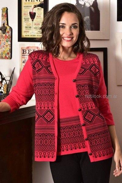 conjuntos dobles buzo mas cardigan tejidos Di madani Sweater invierno 2018