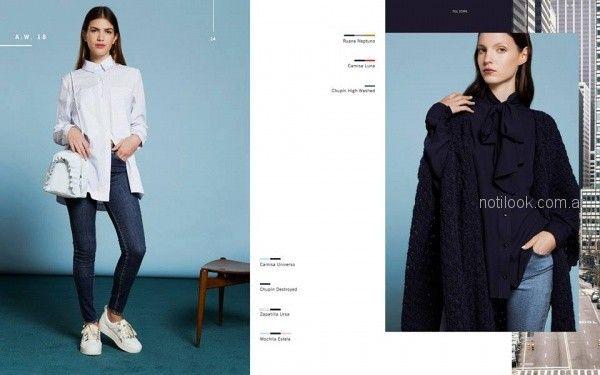 jeans chupin y camisa mujer Naima invierno 2018