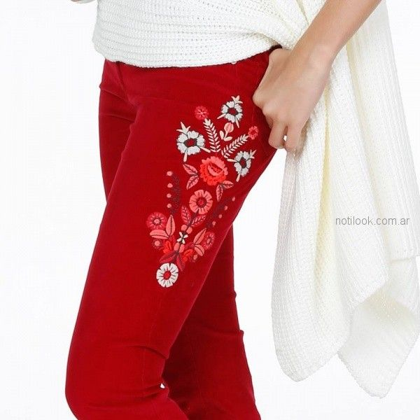 jeans rojo bordado Anna Rossatti invierno 2018