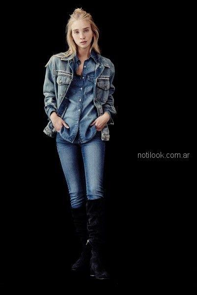 look denim juvenil campera jeans con tachas Melocoton otoño invierno 2018