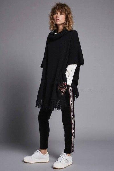 poncho negro mujer Agustina Saquer otoño invierno 2018