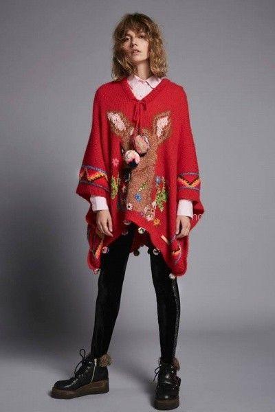 poncho tejido mujer con bordado Agustina Saquer otoño invierno 2018