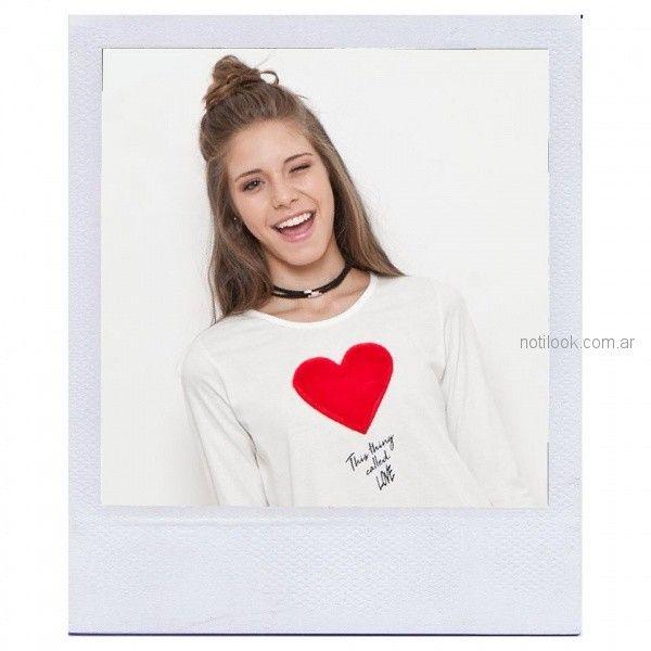 remera mangas largas adolescentes mujer aplique corazon Combustion Love invierno 2018