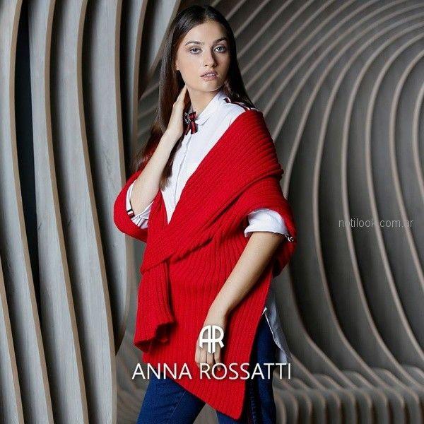 ruana roja tejida Anna Rossatti invierno 2018