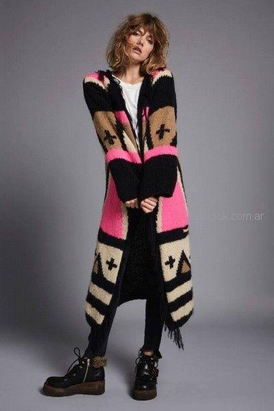 saco largo de lana tejido Agustina Saquer otoño invierno 2018