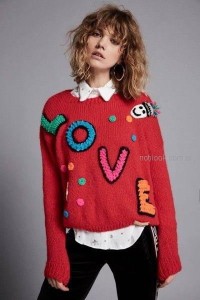 sweater bucle con bordado en lana Agustina Saquer otoño invierno 2018