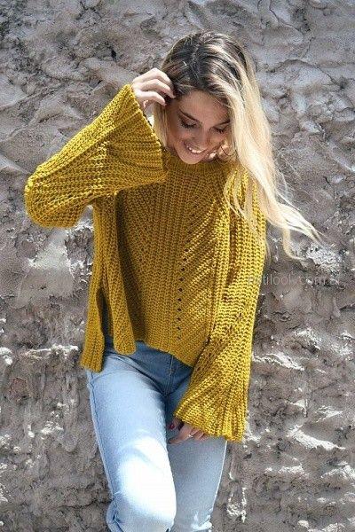 sweater tejido lana con mangas oxford Dorcastar invierno 2018