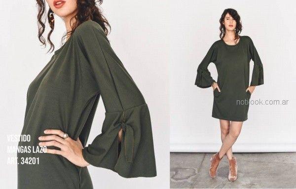 vestido corto mangas largas urbano Pablo Mei invierno 2018