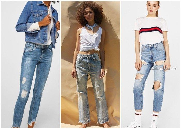 Jeans con roturas - ropa de moda verano 2019 Argentina