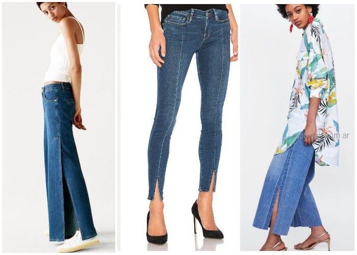 Jeans con tajos - ropa de moda verano 2019 Argentina