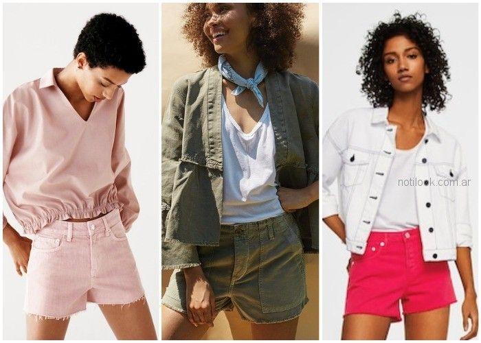 Short de jeans de colores - ropa de moda verano 2019 Argentina