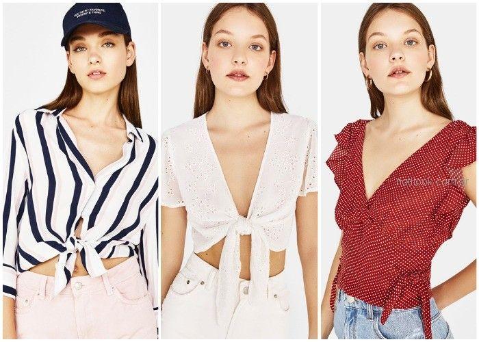 blusas y camisas con nudos - ropa de moda verano 2019 Argentina