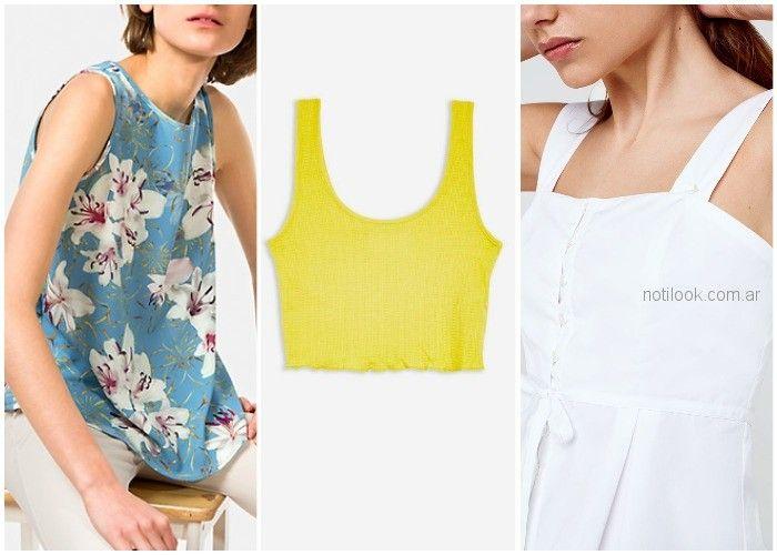 blusas y remeras con breteles anchos - ropa de moda verano 2019 Argentina