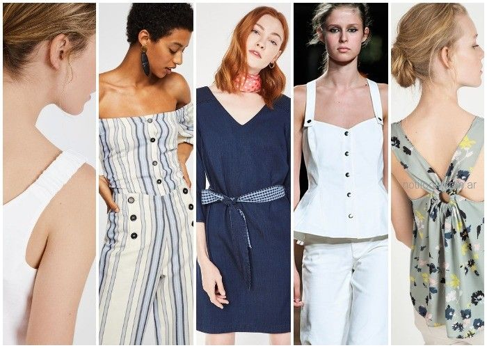 botones expuestos - cinturas ceñidas - breteles anchos - moda verano 2019 Argentina