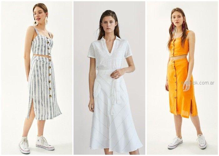 falda midi de lino - ropa de moda verano 2019 Argentina