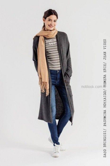 look urbano con cardigan largo mistral mujer invierno 2018