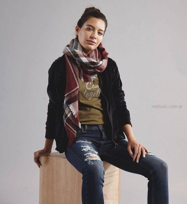 look urbano con jeans rotos mistral mujer invierno 2018