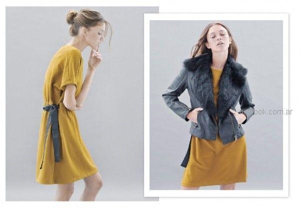 look urbano con vestido corto y campera de cuero y solapa de piel sintetica Sicala invierno 2018