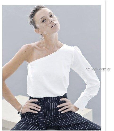 look urbano formal con pantalon a rayas mujer Sicala invierno 2018